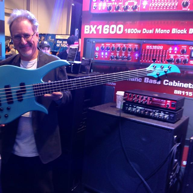 PBJ: Brian Bromberg with his Carvin B2-5S, with split P/J radius pickups #NAMM #NAMM2015 http://t.co/Y9aGzbrLIy