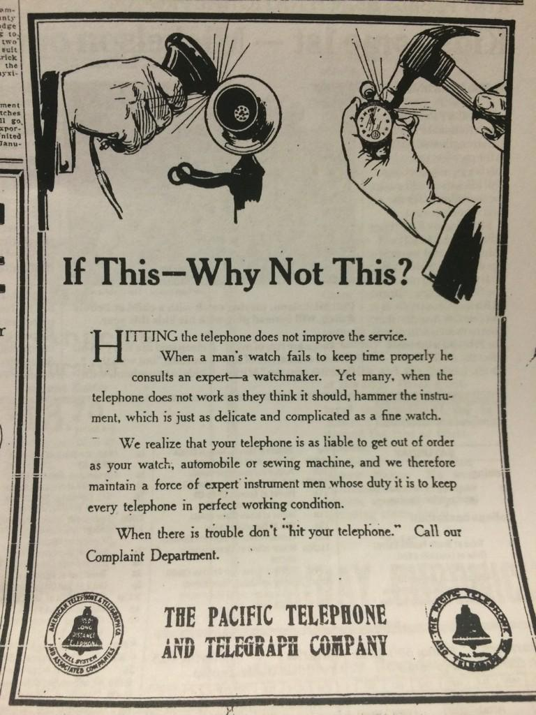 The phone company had to run a 1914 ad in the Chronicle, instructing people not to get angry and smash their phones. http://t.co/G0Nz7qleD4