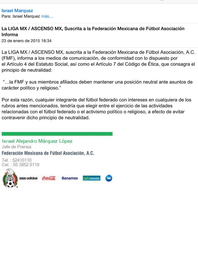 La FMF comunicó hace unos instantes esto, en relación a la Pre candidatura de @cuauhtemocb10. El tema dará para mucho http://t.co/iwCnpBfcGx