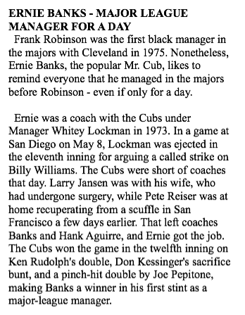 Ernie Banks liked to say he beat Frank Robinson by 2 years as 1st black manager in MLB. Story from #SABR 1989 BRJ. http://t.co/wCwRSs8Lcp