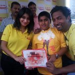 Apna champion Aryan with @MeeMeera and RJ Suren. The Meera and Suren Show live from inorbit mall malad. http://t.co/1PkAnx3jEP