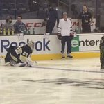 Fleury has taken the ice for morning skate, but first he made friends with Brent Burns kid. http://t.co/IrCr6P2Tj5