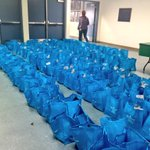200 totes w/ goodies ready for the first people here! 5th annual Rogue Valley Health fair start in 15 min! @KDRV http://t.co/PJh0C84B1f