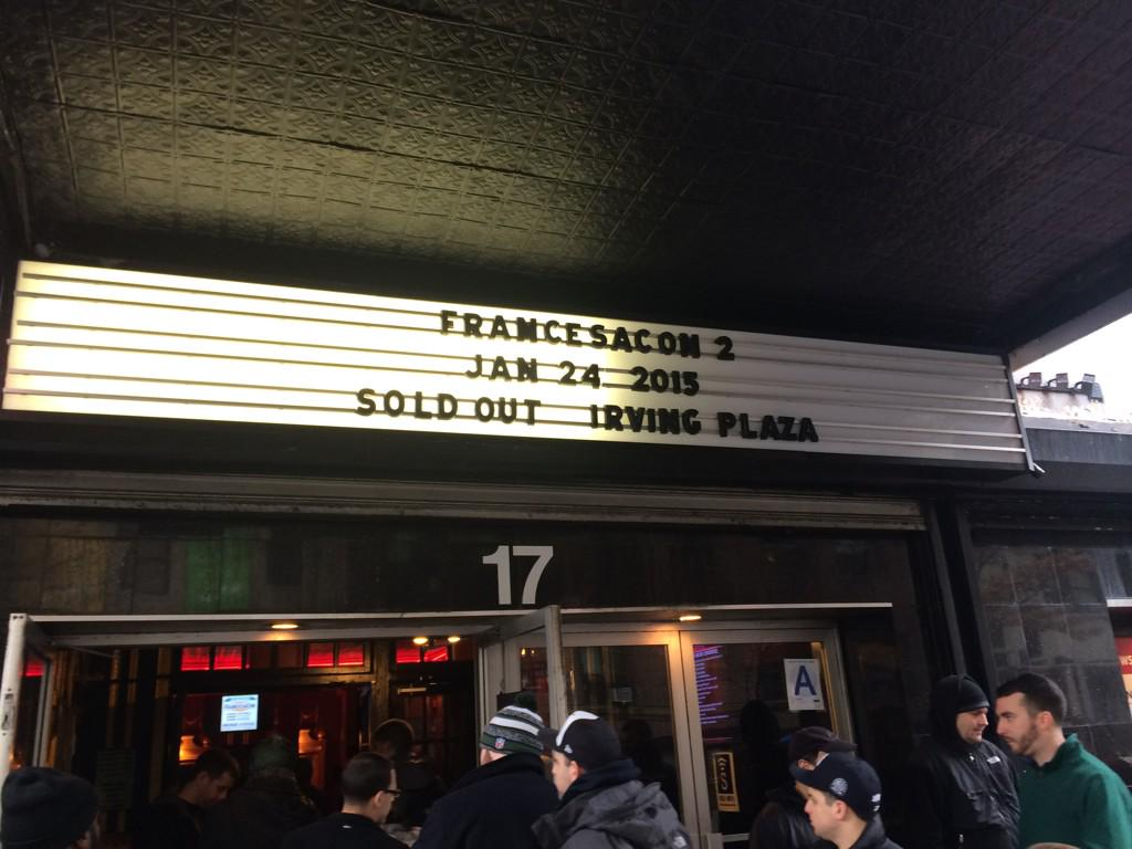 Anyone at @IrvingPlaza today for @MikeFrancesaNY?  Free beer w/ ticket stub at #BroJsUSQ around the corner on 16th!  http://t.co/jPKvgub3yb