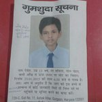 RT @imanshu_: 13 year old kid missing from gurgaon since yesterday.kindly RT to your followers @ShashiTharoor @Raheelk