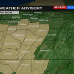 """Winter Weather Advisory for shaded counties. 3""""-5"""" with isolated higher amounts by 1pm Mon. 2""""-4"""" north. #wpxistorm http://t.co/CqXEzu2xbv"""