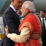 Warm welcome in cold Delhi. Breaking normal protocol PM @narendramodi receives Prez @BarackObama on arrival. http://t.co/HNhB0TdMfA