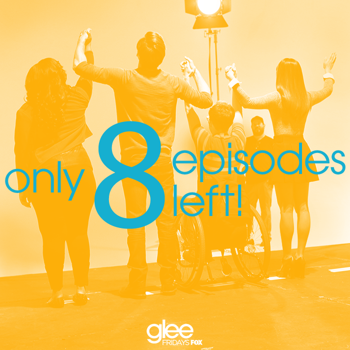 Only 8 episodes left until the #glee club's FINAL standing ovation, gleeks! http://t.co/fgpbz8ghPc
