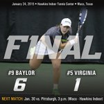 Baylor completes the win over No. 5 Virginia as Kiah Generette secures a 6-0, 6-7 (8), 1-0(6) victory on court 2. http://t.co/dH4aq6U30Y