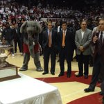 Nick Saban accepting the Iron Bowl trophy at the Alabama-Auburn basketball game. http://t.co/TuwPJNgeoW