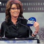 First and last time you will ever see Sarah Palin hold something that is made in the USA and union printed. http://t.co/XBN4LPaz2p