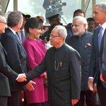 Prez Pranab Mukherjee & PM @narendramodi introduced to US delegation by US Prez @BarackObama at Ceremonial Reception. http://t.co/2gcp9oGeJd
