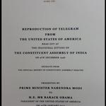 #ObamaInIndia: PM Modi gifts Prez Obama the copy of 1st telegram from US to Indias Constituent Assembly (Times Now) http://t.co/gJMpDSSMLC