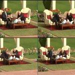 PM Modi & President Obama seated at the shamiana in the Hyderabad House gardens #ObamaInIndia http://t.co/Hh3keSHHoz