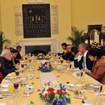 #INDIAUSA: PM Shri @narendramodi in the Luncheon Meeting with US President Mr. @BarackObama at Hyderabad House http://t.co/23XEgtjA8l