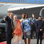 #INDIAUSA: US President Mr. @BarackObama, First Lady Mrs. @MichelleObama &PM Shri @narendramodi at Palam Airport http://t.co/EP0qXFM2qM