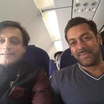 With @BeingSalmanKhan on Jaipur- Ahmedabad flight. .. taking off four and a half hours late