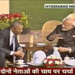 Prime Minister #NarendraModi hosts US President #BarackObama over a cup of Tea at Hyderabad House Lawn. http://t.co/vjhu8enYsp