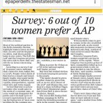 In a recent survey 60% women voters prefer AAP - Female voters think of Kejriwal as a simple & honest family leader http://t.co/L8WOHaP9Mq