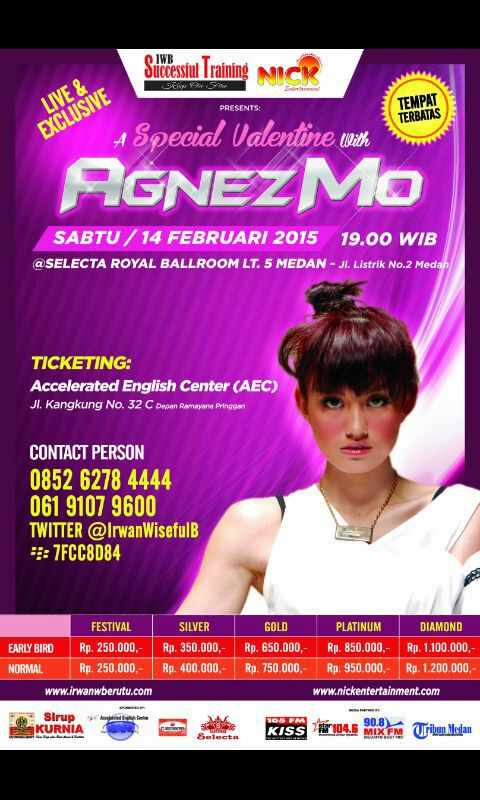 A Special Valentine With Agnez Mo February 14th, 2015 Selecta Royal Ballroom, Medan @VictorySitohang @Tonie_Onie http://t.co/mQE6CfIlJg