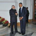 #INDIAUSA: PM Shri @narendramodi with US President Mr. @BarackObama at Hyderabad House, New Delhi http://t.co/TQXCOgpuzw