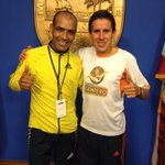 2015 Miami Marathon winner on right (Luis Rivero Gonzalez) and runner-up on left (Slimani of Morocco/Italy) http://t.co/7GtxB9zgr4