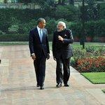 PM Shri @narendramodi having Walk the Talk with US President, Mr. @BarackObama at Hyderabad House http://t.co/X8vY4j3bdS