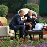 PM Shri @narendramodi in One on One Talks on the tea with US President, Mr. @BarackObama at Hyderabad House http://t.co/ZRVY7Cn1iq
