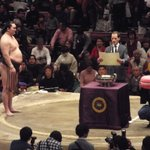 <千秋楽の様子>#sumo 日仏友好杯。ピンクのビッグマカロンです。#sumo 大相撲3月場所(大阪)の先行予約は、明日の11時まで! http://t.co/Xikzw8fCNH http://t.co/2JelxxgTA1