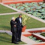 PM Shri @narendramodi having Walk the Talk with US President, Mr. @BarackObama at Hyderabad House http://t.co/AXeancTZIB