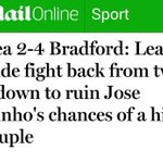 How the Daily Mail reported Chelseas FA Cup exit to Bradford compared to Arsenals League Cup exit.  #CFC #AFC http://t.co/aTOzEO5yYD