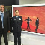 With Wing Commander Pooja Thakur, the first Indian woman to lead a tri-services Guard of Honour today for Obama. http://t.co/Lc6ILYNmyi