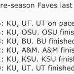 Heres the final Big 12 record of the non-KU Preseason Favorites/ Co-favorites the past 6 years. #kubball http://t.co/IUiGv9INoa