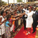 Desire Luzinda gets rousing welcome at Pastor Bugembes church today. #SundayPhotos http://t.co/rbO1NzPHiK
