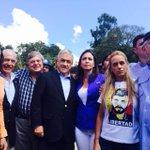 Pte Pastrana,María Corina Machado y Lilian Tintori, esposa de Leopoldo López, intentando visitar a Leopoldo en carcel http://t.co/drjWqzorh1