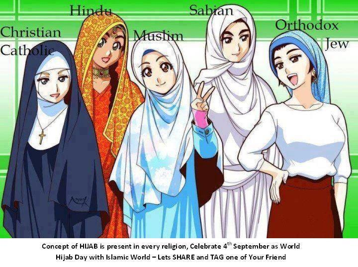 なんかいろんな言語圏で出回ってる「ヒジャブとその仲間たち」の図。 たぶんフランスを筆頭とするヒジャブ抑圧の潮流に対抗する意図で「ヒジャブは特別でも変でもない」と主張するどこかの国のムスリムが描いた絵だろけど、めちゃめちゃ日本スタイル… http://t.co/qwHSw1qK9a