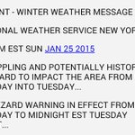"""More: @NWSNewYorkNY calls storm a """"crippling and potentially historic blizzard."""" 20-30+ inches of snow for NYC, LI http://t.co/20gK6U1SjC"""