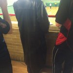 Pear Tree scorer rocks up in a fairly provocative jacket #leather #S&M http://t.co/T9bNhtPjbT