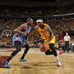 LeBron (22 pts) and Durant (17 pts) are going at it on @ABC! The @cavs lead the @okcthunder 57-49 at halftime. http://t.co/TB2j0yvdtz