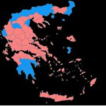 In the pink: Greeces new election map looks like this. Pink = Syriza, Blue = New Democracy #Greece #ekloges2015 http://t.co/DGicRFTB3E
