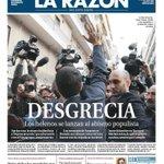 Portada de La sinRazón RT @joseluis_md: #Grecia2015 #objetivoElecciones  Portada de La Razón. Marhuenda se supera. https://t.co/1YoWPsFsLR