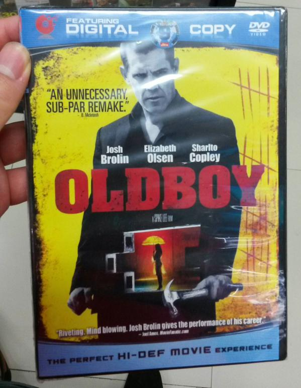 This bootleg DVD of Spike Lee's OLDBOY features a very honest review on the cover: http://t.co/it45CkDoas