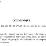 Le président @fhollande félicite @atsipras de la victoire de #Syriza aux élections législatives grecques. http://t.co/wgq46SKnEl