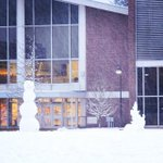 A very tall snowman in front of Harrington Auditorium on the Quad. #snowday #livewpi http://t.co/XWMpvvlpcR