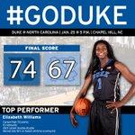 #Duke defeats North Carolina 74-67 in OT! Career-high 33 points for Elizabeth Williams. #GoDuke http://t.co/gisbyhSsSt