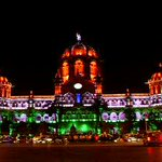 Mumbai : Chhatrapati Shivaji Terminus was lit up in Tricolor last evening for the 66th Republic Day http://t.co/ziyo8WBpE9