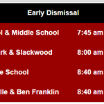 Lawrence Township Public Schools will have an EARLY DISMISSAL on Monday Jan 26. See dismissal times below. http://t.co/oPQii7Ofam