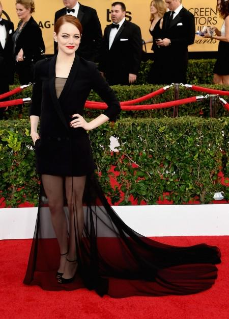 Emma Stone rocking @Dior Couture dress at @SAGAwards red carpet like a bad-ass queen #SAGAwards http://t.co/fRp7oBL42p
