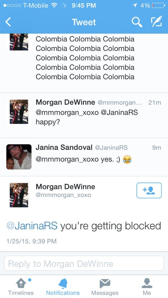 When people wanna block you because you correct them on how to spell colombia. Peace! ✌️ #MissUniverse2015 http://t.co/akHEbnMNeV