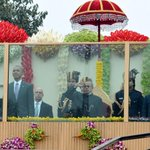 Dignitaries at the Saluting dais, on the occasion of the #RepublicDay2015 Parade in New Delhi. http://t.co/JmIeGAuZsg